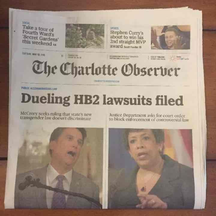 LGBT HB2 Charlotte, newspaper. RARE! - Mercari: Anyone can buy & sell