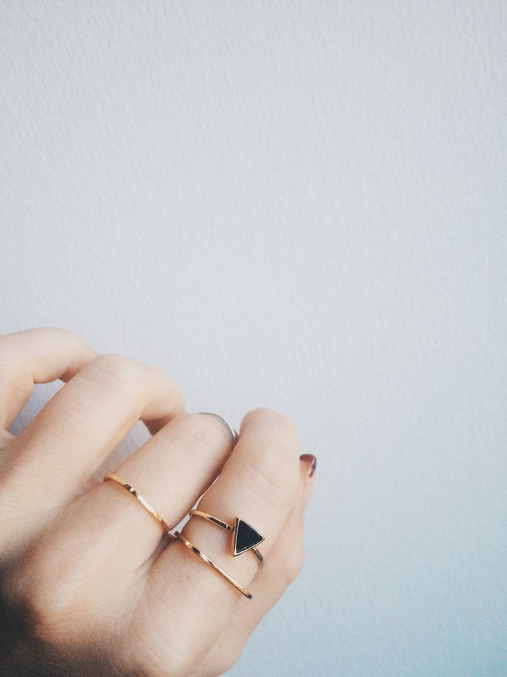 Bing Bang's delicate gold and jet black geometric stacking rings...pure perfection.