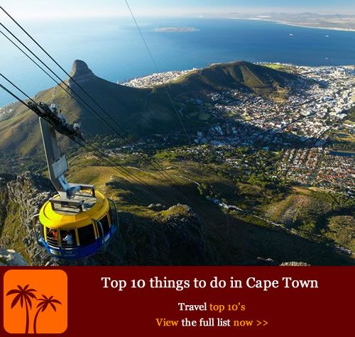 Top 10 things to do in Cape Town. Historically, Cape Town became the first formal settlement in Africa when the Dutch sailor Jan van Riebeeck landed at the south-western tip of the continent in the 17th century. Today it's one of the most popular tourist destinations in the world, offering a startling range of sightseeing opportunities, thrill-seeking activities and historical and cultural insights from a very turbulent past