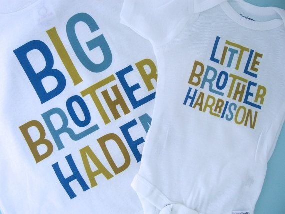 Boys Set of Two Big Brother Little Brother by ThingsVerySpecial, $28.99