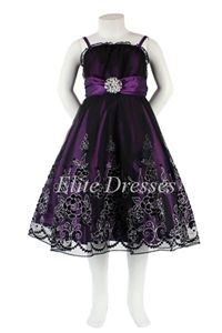 Girls Purple Dress with Black Tulle Overlay and Matching Shawl by Elitedresses.com