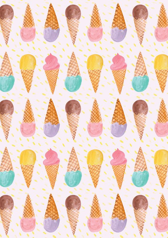 A4 Ice Cream Pattern Print by emilynelsonart on Etsy