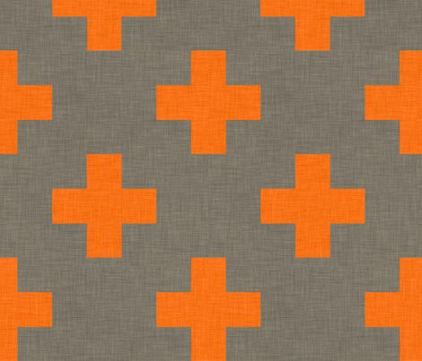 plus one linen orange fabric by holli_zollinger on Spoonflower - custom fabric