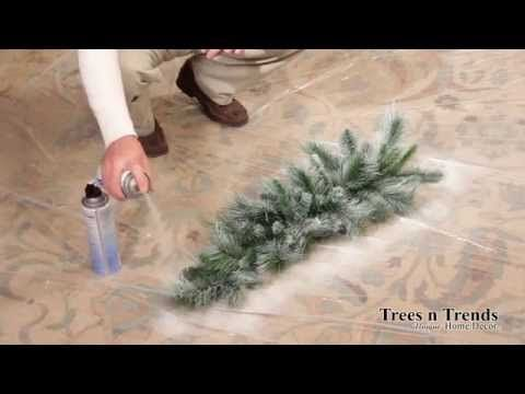 How To Flock or Snow Spray a Christmas Tree, Wreath, or Garland - YouTube Uses ceiling textured ceiling spray/patch and simple white paint!