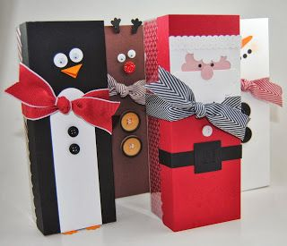 Laura's Works of Heart: CHRISTMAS TAG A BAG GIFT BOXES. Super cute!!!