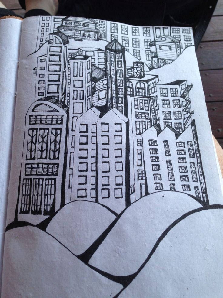 Cityscape in ink