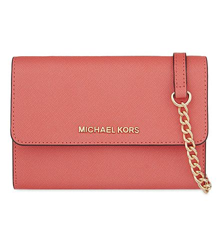 MICHAEL MICHAEL KORS Jet Set Large Leather Cross-Body Bag. #michaelmichaelkors #bags #shoulder bags #leather