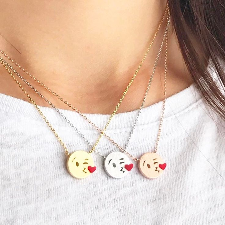 """2,102 Likes, 10 Comments - IMSMI STYLE (@imsmistyle) on Instagram: """"which color is your fave? 😘 shop link in bio #imsmistyle #jewelry #kissy #emoji #necklace #cute…"""""""