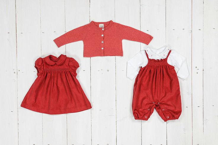 Lively red velvet dresses, baby clothes; wool and cashmere cardigan