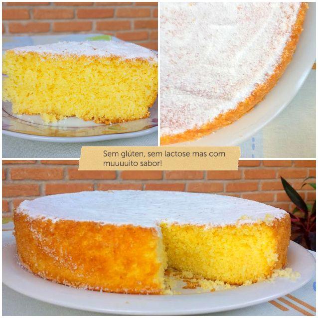 1 copo (250ml) de suco concentrado de laranja (tangerina ou maracujá) 3 ovos 1/2 copo (100ml) óleo girassol (soja, canola ou milho) 1 caneca de açúcar ou 160g 1 caneca ou 160g + 2 colheres sopa de farinha de arroz 1 colher de sopa de fermento em pó Bater ingredientes (líquidos, depois e aos poucos os secos) liquidificador, p último fermento; até ficar homogênea. Unte fôrma redonda de aproximadamente 35cm com açúcar e leve ao forno pré-aquecido em 180ºC 30min.
