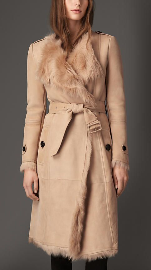Burberry London Shearling Trench Coat