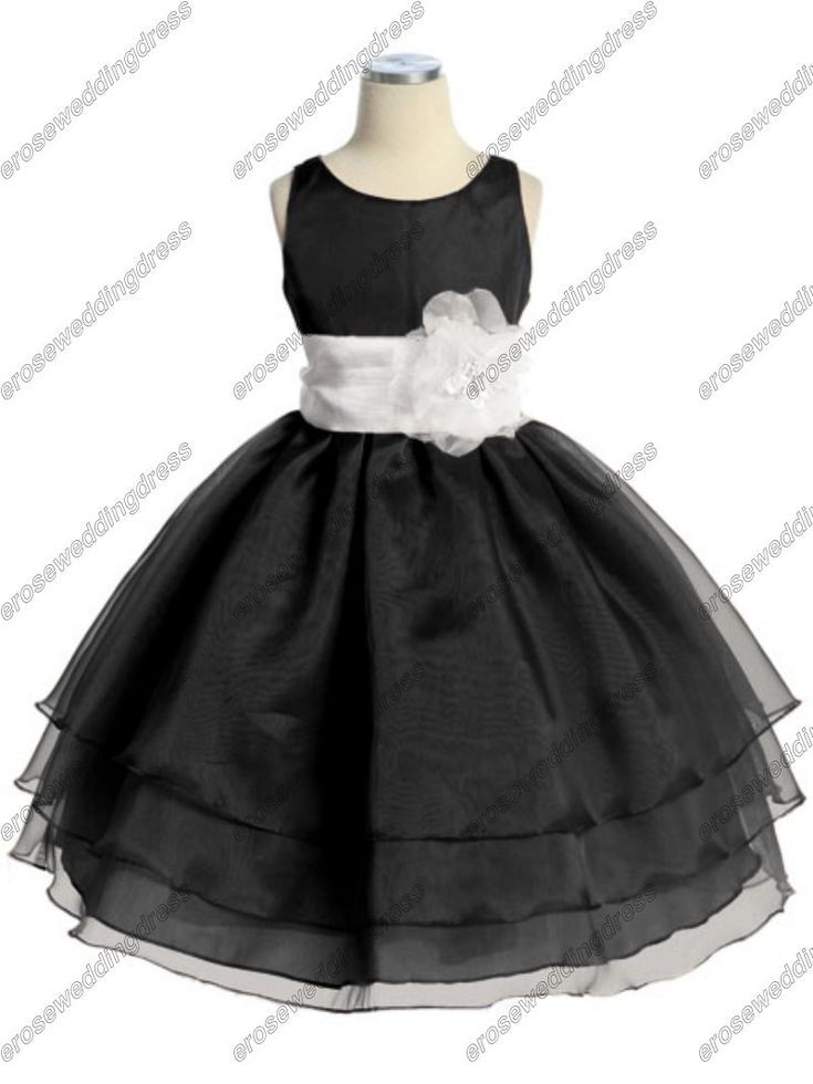 CY-009 A-line Organza Black And White Flower Girls Dresses With Flower Sash $69.00