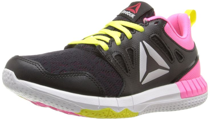 Reebok Kids' Zprint 3D-K Track Shoe, Black/Poison Pink/Hero Yellow, 5 M US Big Kid. Independent nodes in key zones with a surrounding 360° perimeter grid provide hyper flexibility and stable tracking. Tri-density cushioning platform for super soft foam underfoot at impact. Responsive foam at takeoff. And lightweight foam for enhanced stability.