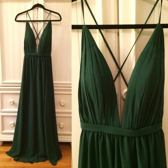Dark Green Backless Prom Dress, Sexy Deep V