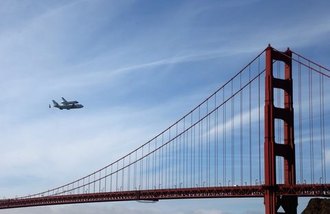 Strapped to the back of a jumbo jet, Space Shuttle Endeavour swooped over the California state capital & circled San Francisco's Golden Gate Bridge & the Santa Monica Pier in a highly choreographed final flight. (via PBS NewsHour)