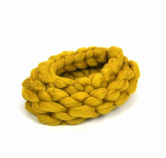 Wool basket / cocoon  TABACA ductile ,  photo prop, baby photo props, merino…
