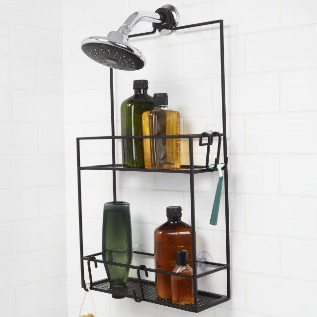 "A Mondrian-style shower caddy with 2 large shelves and custom ""S"" hooks. Mounts over a shower head or over a shower door."