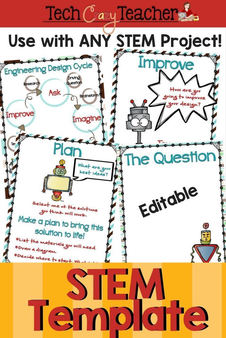 Stem Template For The Engineering Design Process Editable Engineering Design Process Teacher Projects Elementary Stem Activities