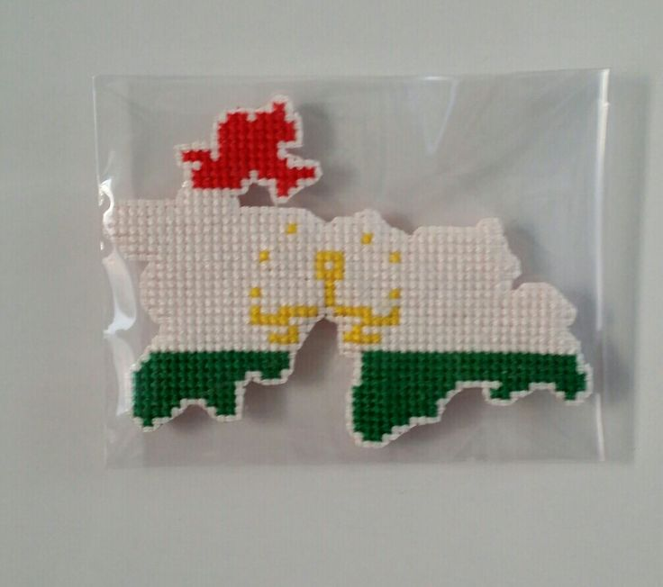 [ Tajikistan   flag map ]   *handmade item.   *Instant digital download: 1 PDF included.   *colors: 2 DMC colors.   *stitch count: 51w X 38h    *price: $3  ( Payment path = www.paypal.me/crossstitch )