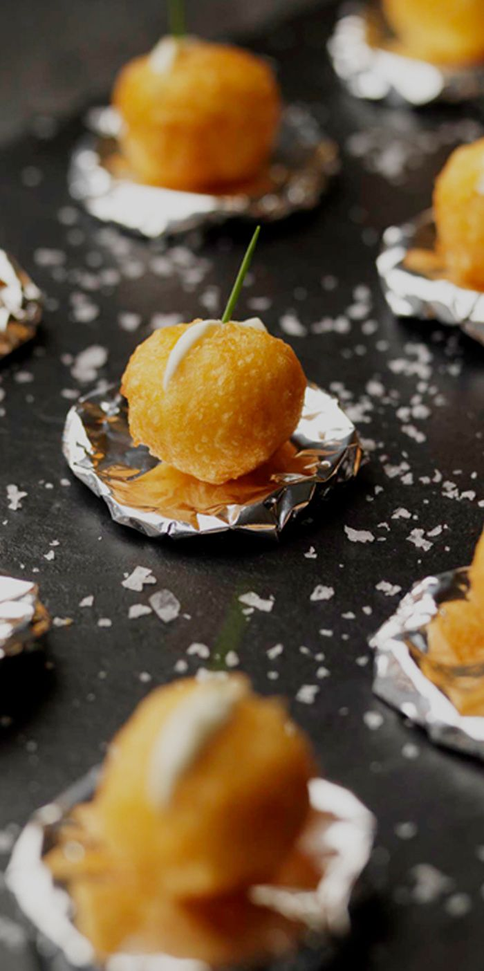 Martin Wishart fills these little potato balls with a little crème fraîche for a deliciously simple canapé.