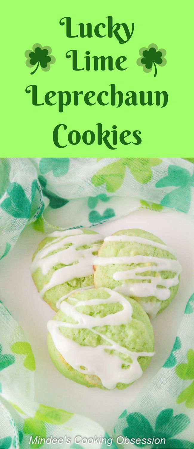 Check out these fun cookies for St. Patrick's Day! They are soft, sweet, and green with a light lime-y flavor and tart icing! Yum! via @https://www.pinterest.com/mindeescooking/