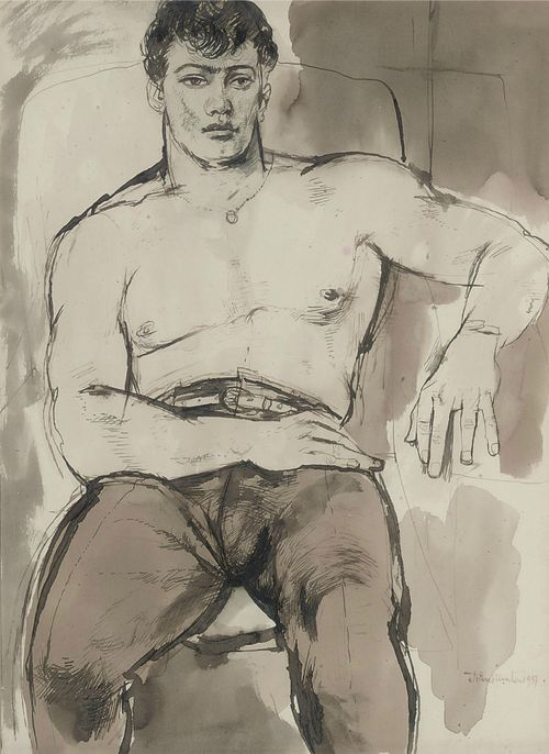 John Minton (English, 1917-1957), Portrait of Norman Bowler, 1951. Ink and wash, 14½ x 10½ in. (36.8 x 26.7 cm.).