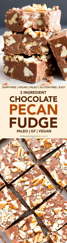 3 Ingredient Chocolate Pecan Fudge (V, GF) a 5-minute recipe for thick, luxurious fudge bursting with pecans. Paleo, Vegan, Gluten Free, Dairy-Free. #Paleo #Vegan #GlutenFree #DairyFree #Chocolate #Dessert | Recipe on BeamingBaker.com
