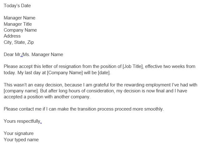 Simple Two Weeks Notice Letter Template Samples Resignation