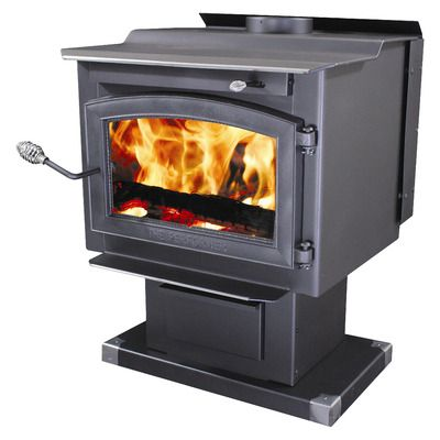 """Features:  -Adjustable high speed (100 CFM) blower included.  -Accepts logs up to 20"""" in length.  -Sturdy pedestal base with large ash drawer for easy ash removal.  -Heavy gauge 3/16"""" reinforced plate"""