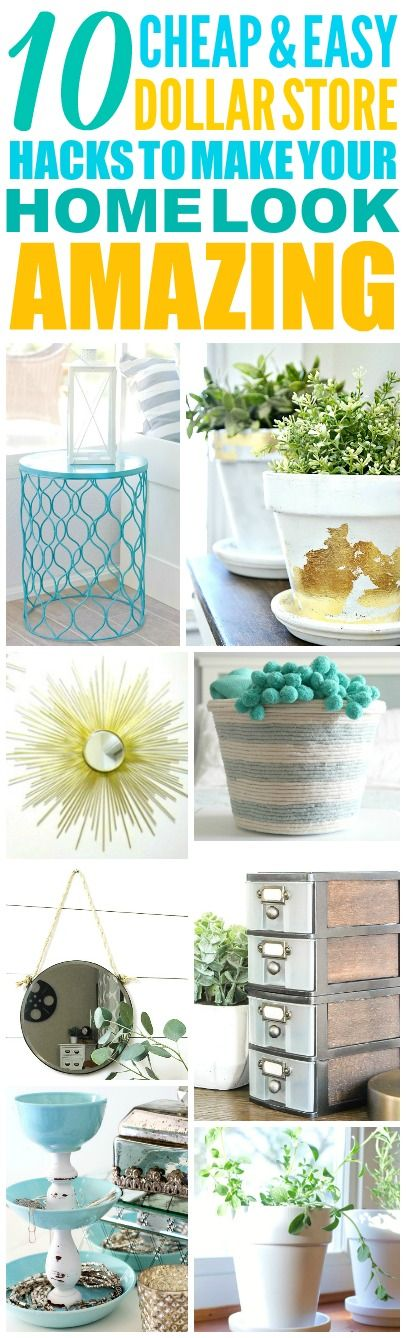These 10 cheap and easy dollar store decor ideas are THE BEST! I'm so glad I found these AMAZING tips! Now I have some great ways to decorate my home with the dollar store! Definitely pinning!