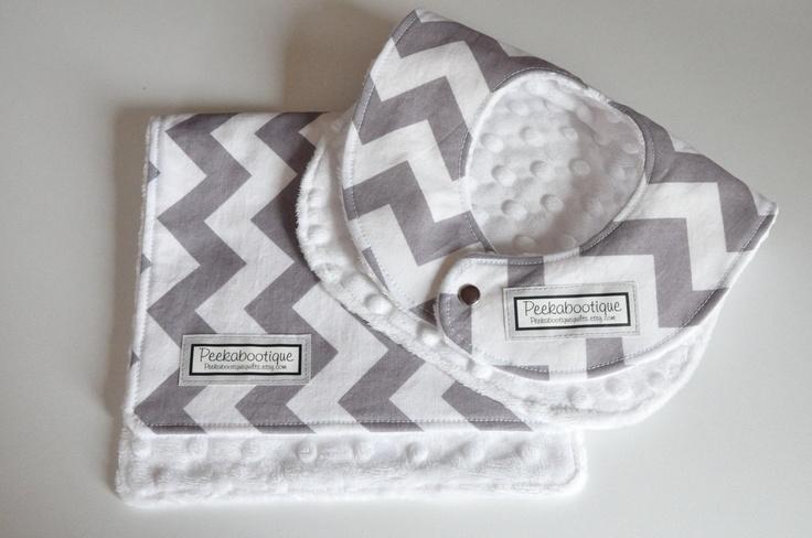 Baby Bib and Burp Cloth, Chevron gray