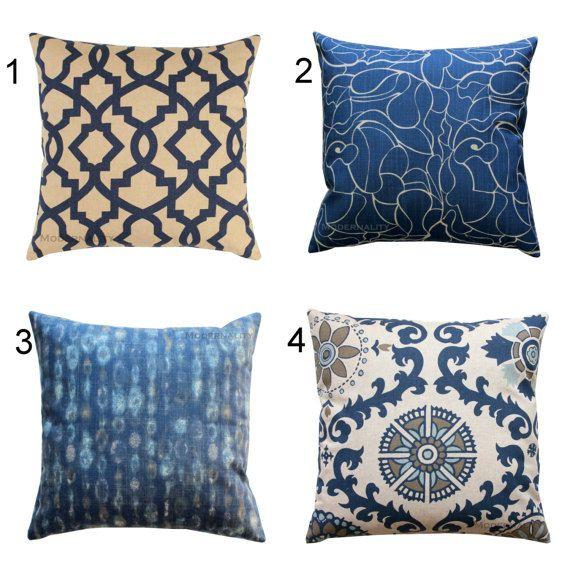 CLEARANCE Designer Pillows  Indigo Pillow Cover  Blue Throw Pillow  Taupe Cushion  Cover  Indigo Sofa Pillows  16x16 Accent Bed Pillows. 17 Best ideas about Bed Chair Pillow on Pinterest   Crochet