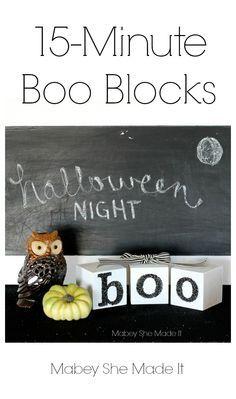 Halloween Boo Blocks | Mabey She Made It | #halloween #blocks #boo #glitter