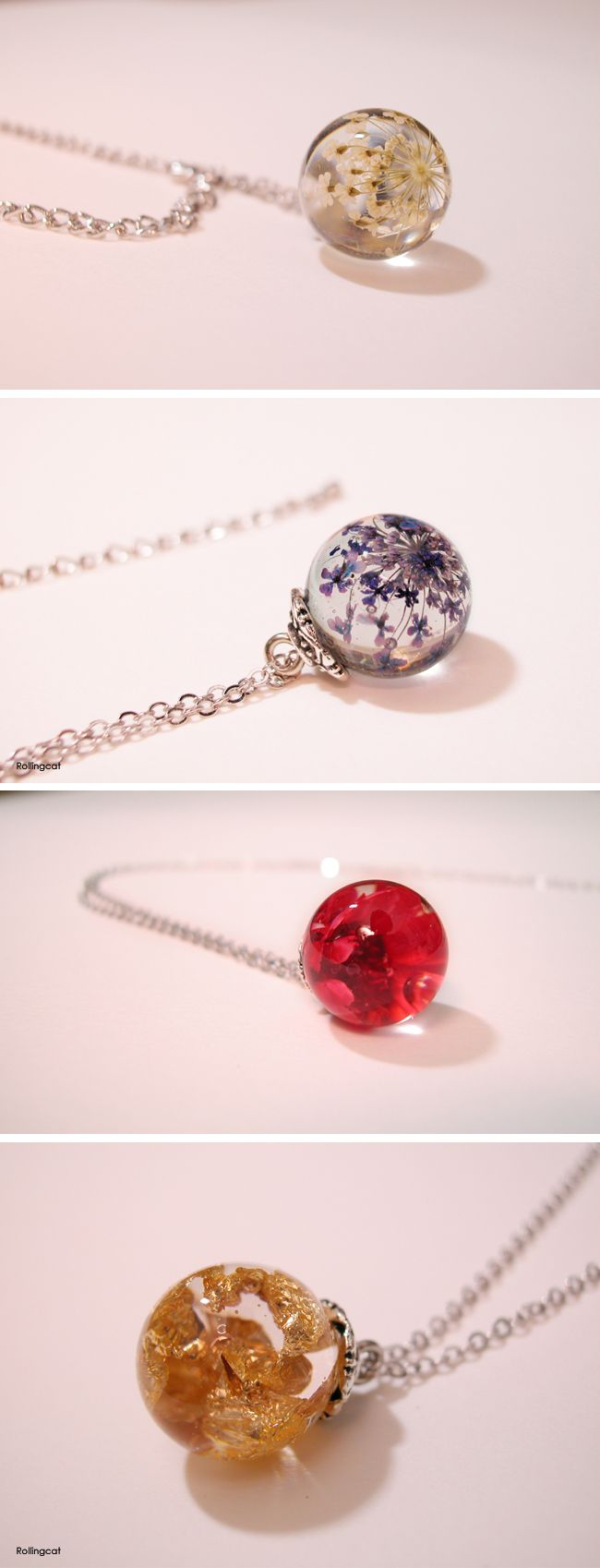 resin necklaces - Flower and Gold Leaf
