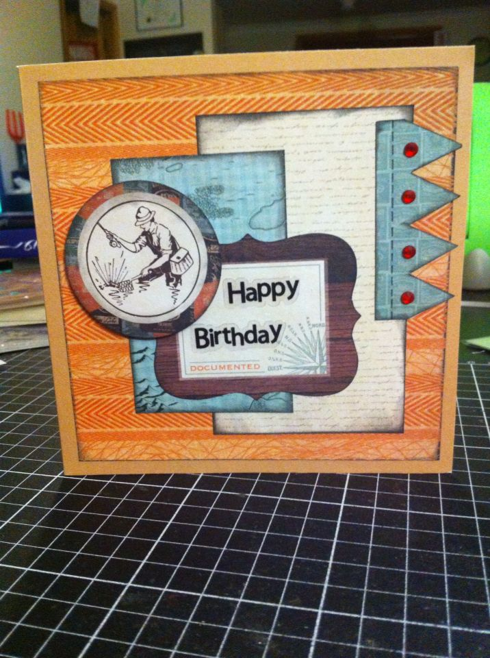 Handmade Happy Birthday card, made using the Kaisercraft Outdoor Trail collection
