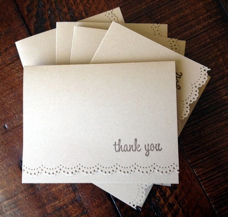 Blank Kraft THANK YOU Note Cards. Wedding Stationery. Stationary. Hand Stamped & Punched Dolly Lace Set of 5. $7.49, via Etsy.