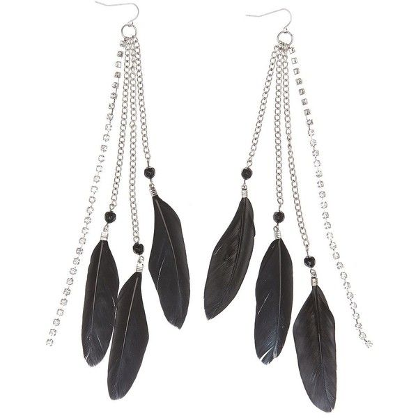 Charlotte Russe Feather Fringe Earrings found on Polyvore featuring jewelry, earrings, accessories, black, charlotte russe, feather jewelry, charlotte russe earrings, boho jewelry and bohemian style earrings