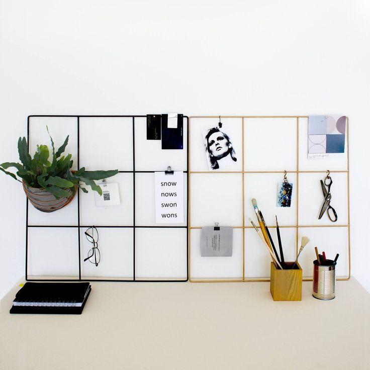 Wallment 9 Grid wire grid memo boards in Black and Nude for the perfect minimal inspiration board in your work space or office. Wallment Baskettes can be hung on the grids to green up your workspace without crowding up your desk. Finnish design.