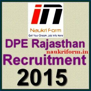 DPE Rajasthan Recruitment 2015