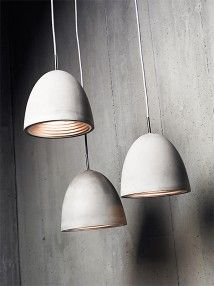 Concrete Pendant. Natural concrete with polished chrome ceiling canopy