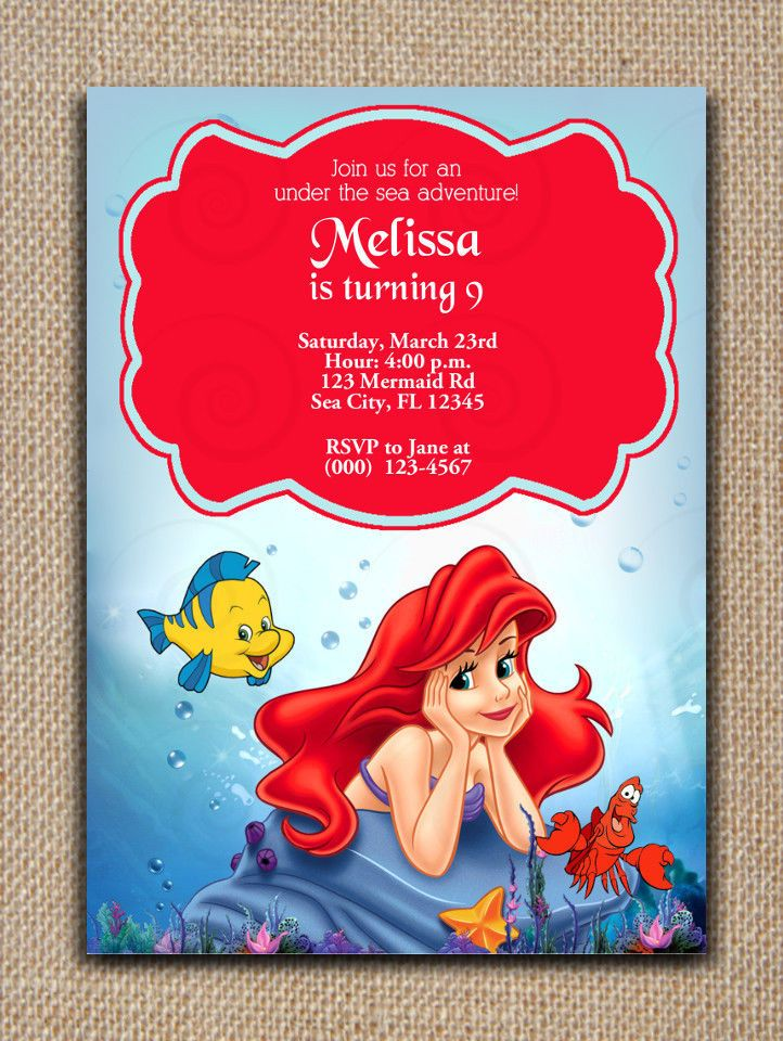 THE LITTLE MERMAID Ariel INVITATION Printable & editable PDF File Adobe Reader #SweetieCakeToppers #AnyOccasion