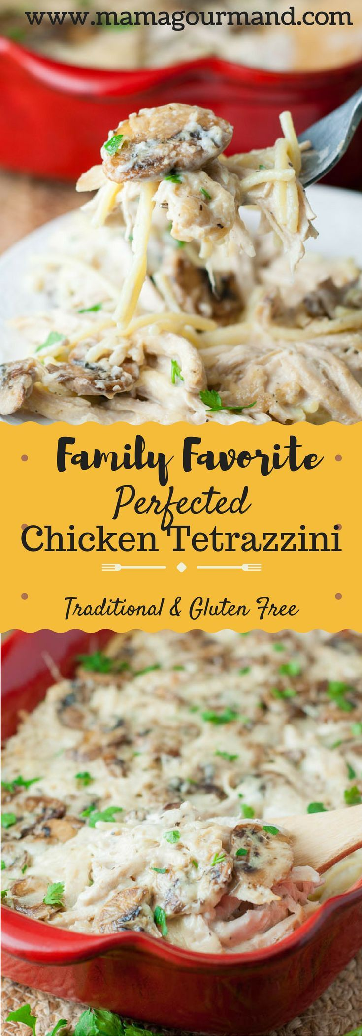 You will not find a better version of chicken tetrazzini casserole! Gluten free directions are included, so now all can enjoy! http://www.mamagourmand.com