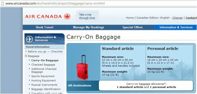 Air Canada Carry-On Luggage allowance - travel
