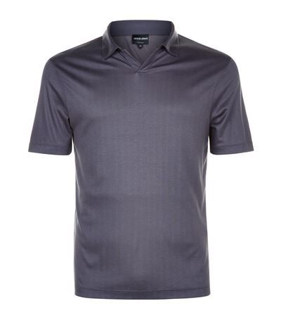 GIORGIO ARMANI Herringbone Polo Shirt. #giorgioarmani #cloth #