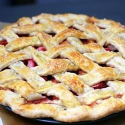 This strawberry rhubarb pie bakes for an hour and uses strawberries, rhubarb and cinnamon for a winning combo.