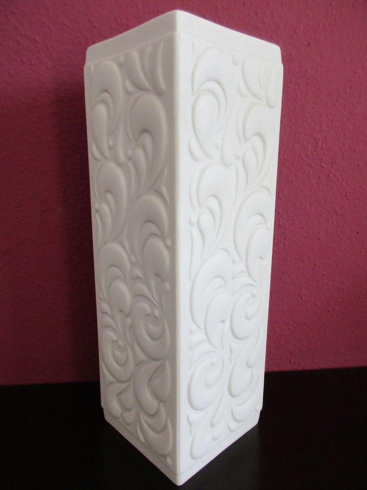 Vase weiß Porzellan Bisquitporzellan Hutschenreuther Tirschenreuth viereckig