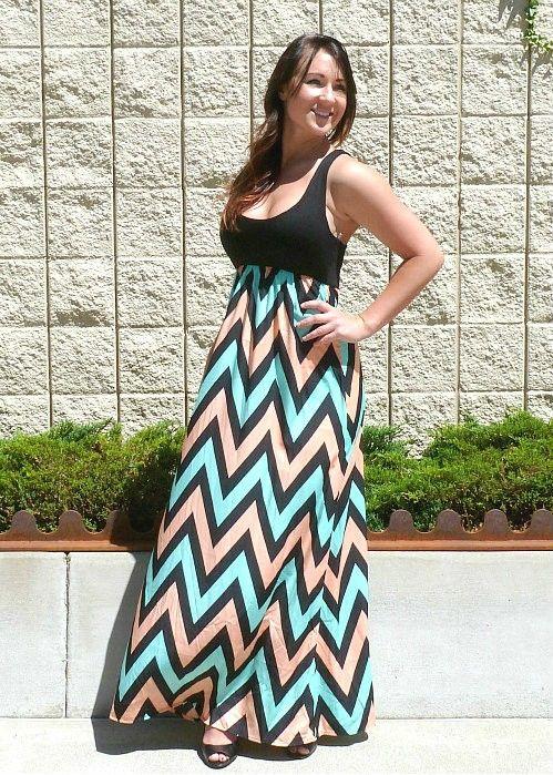 Size Chevron Maxi Dresses