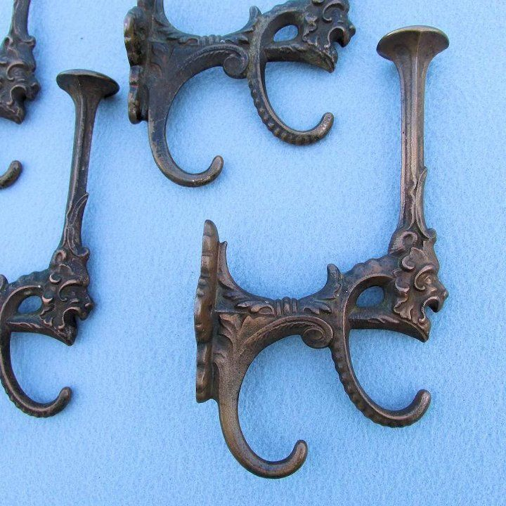 4 Antique Victorian Gothic Hat Coat Hooks With Gargoyle Faces Gothic Dollhouse Gargoyle Face Victorian Gothic