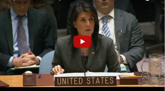 "Haley Blasts Russia Over Syrian Regime's Chemical Weapons Use: 'It's a True Tragedy'. She laid out expectations for Syria to destroy its chemical weapons arsenal under the Chemical Weapons Convention and U.N. Security Council resolution 2118, but implicated Russia in protecting Assad.  ""It's a true tragedy that Russia has sent us back to square one in the effort to end chemical weapons use in Syria."