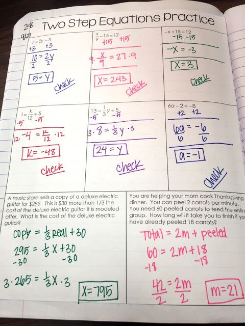 Solving Two-Step Equations practice interactive notebook page